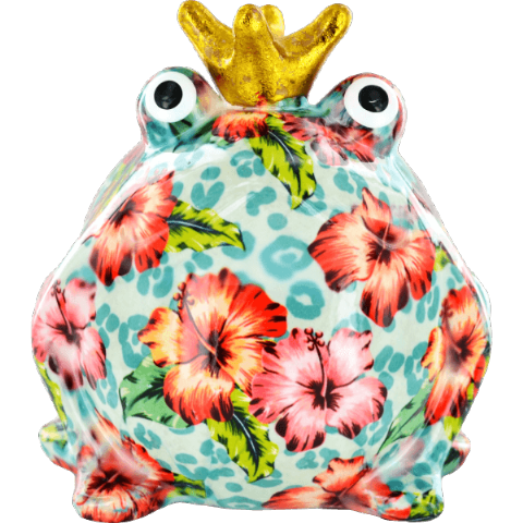 Freddy The Frog White Blue Dots and Flowers Ceramic Money Box